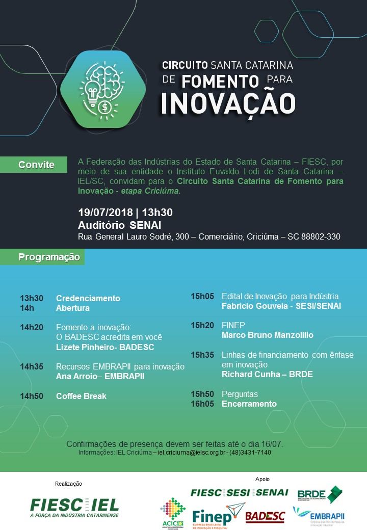 Cartaz com o nome do evento, data, local e realização.